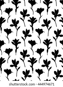 Alstroemeria silhouettes on white background. Seamless floral pattern. Black flower background.