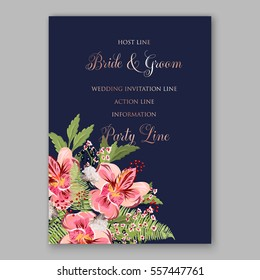 Alstroemeria Wedding Invitation tropical floral printable template. Bridal Shower bouquet privet berries, vector flower, illustration in vintage watercolor style