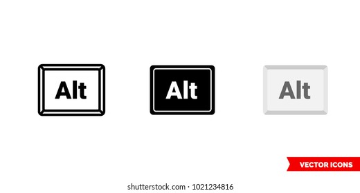 Alt button icon of 3 types: color, black and white, outline. Isolated vector sign symbol.