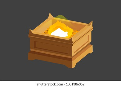 Altar of Sacrifice. Old Testament sanctuary furniture religious imagery vector illustration, book of Exodus. This was where sacrifices were burned as offerings. Symbol for Cross.