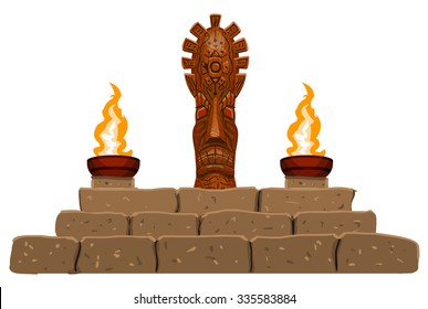 altar with totem, sacrificial fire, idol