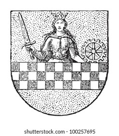 Altena coat of arms (town in Germany) / vintage illustration from Die Frau als hausarztin 1911