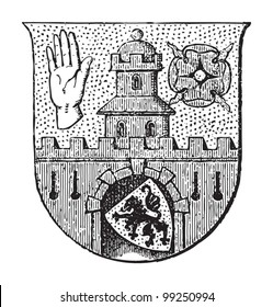 Altenburg coat of arms (town in Germany) / vintage illustration from Meyers Konversations-Lexikon 1897