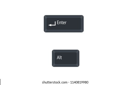 Alternate (Alt) and Enter computer key button vector isolated on white background. Alt+Enter for open the properties for the selected item.