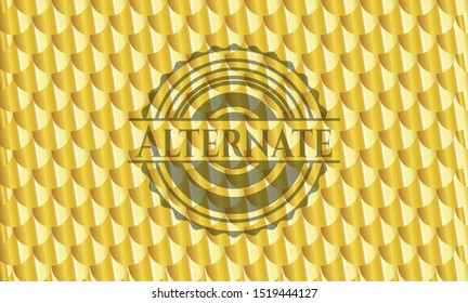 Alternate gold badge. Scales pattern. Vector Illustration. Detailed.