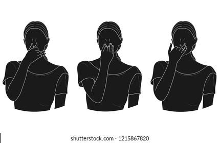 Alternate Nostril Breathing (Nadi Shodhana Pranayama). Vector.