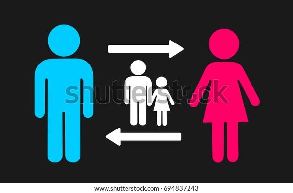 Alternating Custody Minor Child Kid After Stock Vector