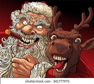 Alternative Christmas: Drunk Santa and Deer.  Very drunk Santa with cigar embracing crazy drunk deer after active Christmas holiday.