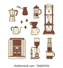 Alternative coffee brewing methods flat icons set. Collection of vector percolators, pots and kettles. Hand drawn isolated design elements for cafe menu infographic