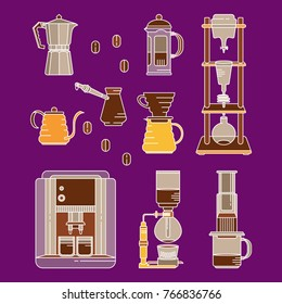 Alternative coffee brewing methods flat icons set. Collection of vector percolators, pots and kettles. Hand drawn colored design elements for cafe menu infographic