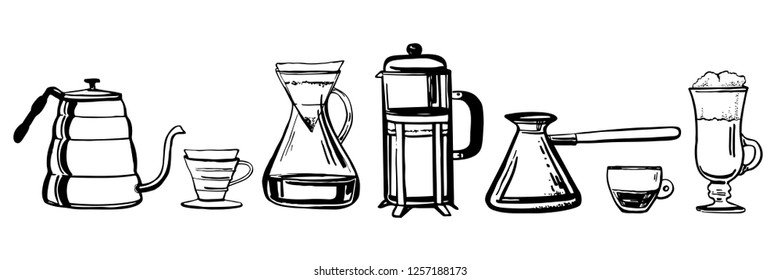 Alternative coffee brewing methods. Hand drawn outline sketch vector set. Coffee making utensils. French press, coffee makers, cups, kettles, turkish coffee pot