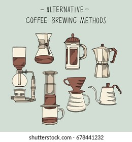Alternative coffee brewing methods illustration set. Collection of vector percolators, pots and kettles in sketch style. Hand drawn design elements for cafe menu infographic
