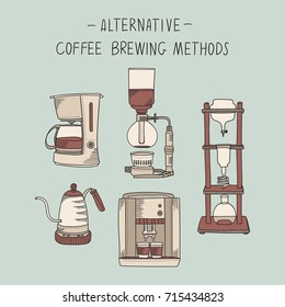 Alternative coffee brewing methods illustration set. Collection of vector percolators, machines and kettles in sketch style. Hand drawn design elements for cafe menu infographic