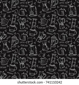Alternative coffee brewing methods seamless pattern with percolators, coffee beans and lettering. Vintage black monochrome vector background.Hand drawn coffee pots and kettles elements design texture