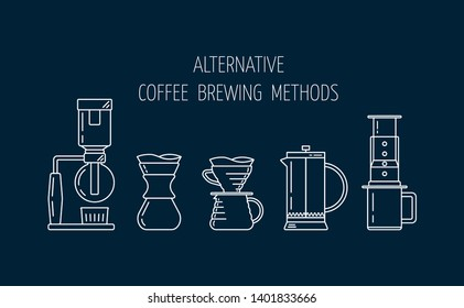 Alternative coffee brewing methods. Set of vector white linear icons about coffee brewing. Siphon, pour over, french press, aeropress. Flat design. Vector illustration