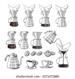 alternative coffee pour-over maker icon. device for brewing coffee. vector illustration