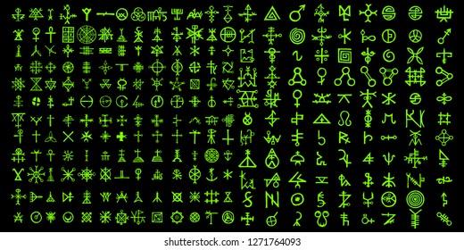Alternative of digital green matrix and computer code symbols. Quantum computers and qubit,  hacker and crypto, steampunk, alien programming concept. Vector.