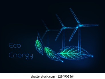 Alternative eco energy concept with glowing low polygonal leaves and wind turbines farm on dark blue background. Sustainable power resources. Futuristic wireframe design vector illustration.