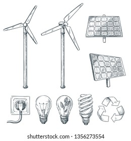 Alternative eco and renewable energy sources. Vector hand drawn sketch illustrations. Wind generator and solar battery symbol isolated on white background.