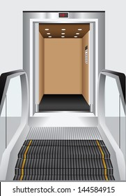 Alternative to the elevator - escalator. Lifting and transportation sectors. Vector illustration.