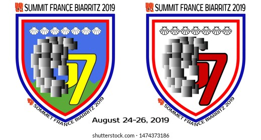 An alternative emblem for a group of seven developed countries. French inscription means summit France Biarritz 2019
