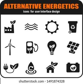 Alternative energetics icons set for user interface design