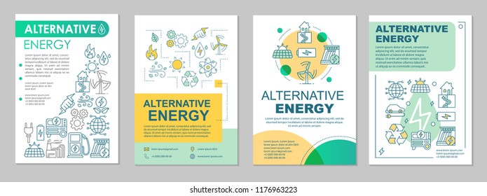 Alternative energy brochure layout. Eco energy. Flyer, booklet, leaflet print design with linear illustrations. Power generation. Vector page layouts for magazine, annual report, advertising posters
