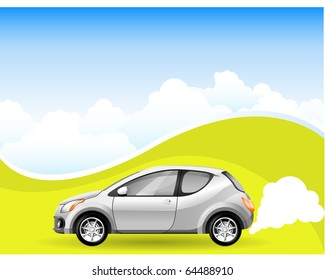 Alternative Energy car on the Cloudscape background