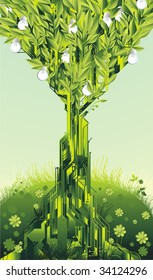 alternative energy concept circuit tree with light bulb fruits,in a spring meadow