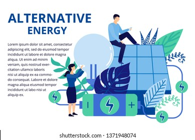 Alternative energy concept in flat style. Solar panels convert the energy of the sun into electricity.Take care of nature and energy, ecology concept. Illustration for background and web banners