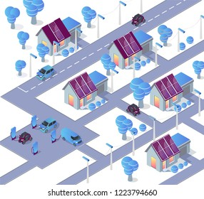 Alternative energy concept vector flat illustration. Isometric car and city house connected to solar panel. Car charge station. Isometric 3d