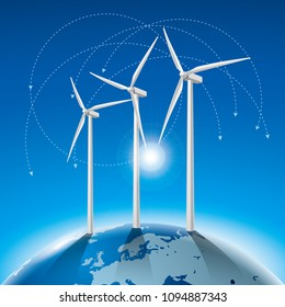 Alternative energy concept, wind generators on earth.