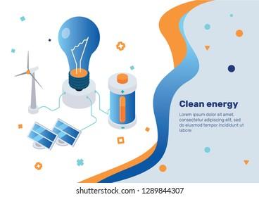 Alternative energy. Isometric Concept.