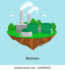 alternative energy power industry, biomass factory electricity on a green grass ecology concept, technology of renewable bio plant recycle station vector illustration