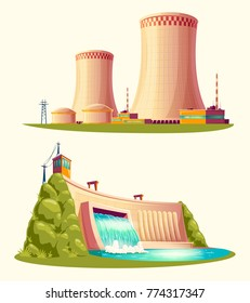 Alternative energy sources, concept of environmental protection, set of vector cartoon illustrations isolated on white background. Hydroelectric power plant with dam and nuclear power station