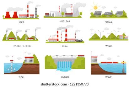 Alternative energy sources. Hydroelectric, wind, nuclear, solar and thermal power plants. Flat vector design