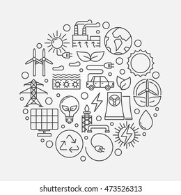 Alternative energy sources illustration. Vector circular linear renewable energy concept symbol