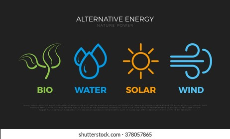 Alternative energy sources logo. Templates for renewable energy or ecology logos. Nature power symbols. Simple icons of alternative energy sources. Four elements icons. Pictograph.