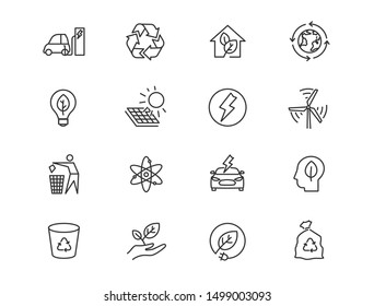 Alternative energy sources vector linear icons set. Ecology renewable energy outline symbols pack. Collection of alternative energy icons isolated contour illustrations. Electric car. Solar power