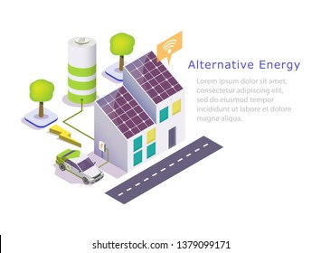 Alternative energy vector web banner template. Isometric green eco friendly house with solar panels, electric car. Renewable solar energy and battery storage system concept.