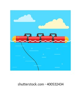 Alternative Energy Wave Power Flat Vector Illustration In Simplified Style