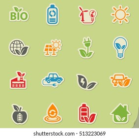 alternative energy web icons on color paper stickers for user interface