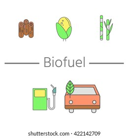 Alternative fuel. Corn, sugar cane and wood basic elements of which make the bio fuel. Production of biofuels and vehicle refueling. Hybrids and green cars