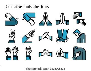Alternative handshake color line icons vector set. Creative greeting avoid Coronavirus 2019-nCov, Covid-19.