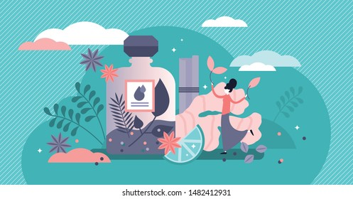 Alternative herbs medicine vector illustration. Flat tiny beauty healing persons concept. Natural product medication for illness and disease treatment. Bio plant ingredient power faith and belief.