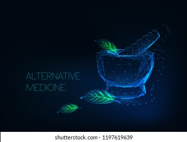 Alternative medicine concept with glowing mortar and green leaves made of stars, lines, points, triangles. Futuristic background on dark blue. Low polygonal wireframe design vector illustration.