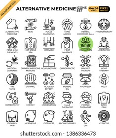 Alternative medicine concept icons set in modern line icon style for ui, ux, web, mobile app design, etc.