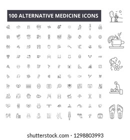 Alternative medicine editable line icons, 100 vector set, collection. Alternative medicine black outline illustrations, signs, symbols