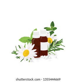 Alternative medicine & homeopathy illustration. Fresh herbs / homeopathy bottles and balls.