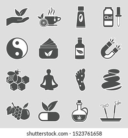 Alternative Medicine Icons. Sticker Design. Vector Illustration.